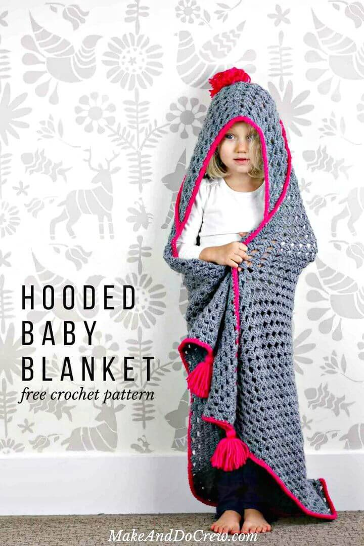 How To Crochet Hooded Baby Blanket – Free Pattern