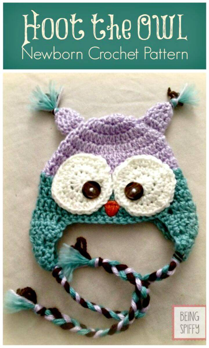 Free Crochet Hoot the Owl Newborn Hat Pattern