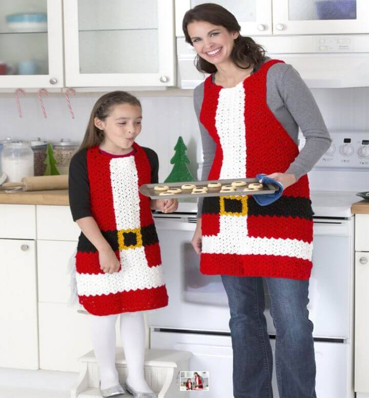 Free Crochet Kitchen Santa's Aprons Pattern