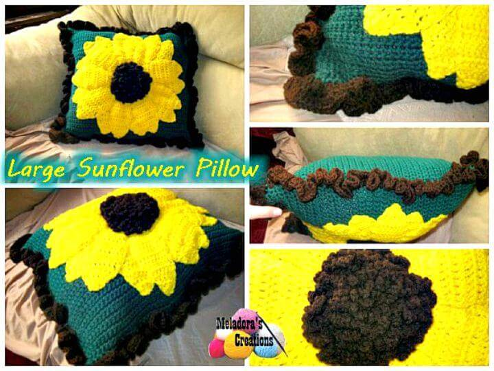 Easy Free Crochet Large Sunflower Pillow Pattern