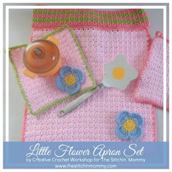 How To Free Crochet Little Flower Apron Set Pattern