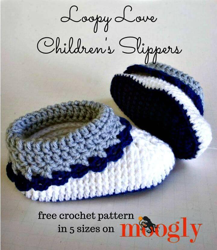 Free Crochet Loopy Love Children's Slippers Pattern