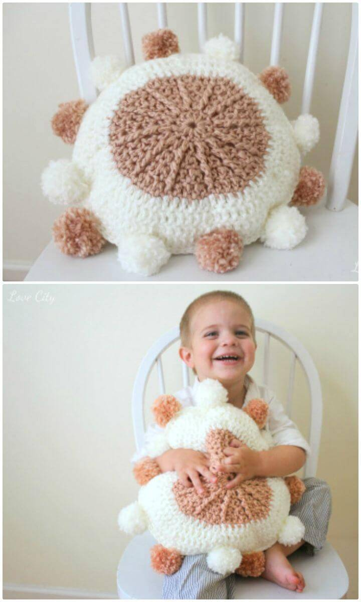 Crochet Love Yarn Pom Pillow