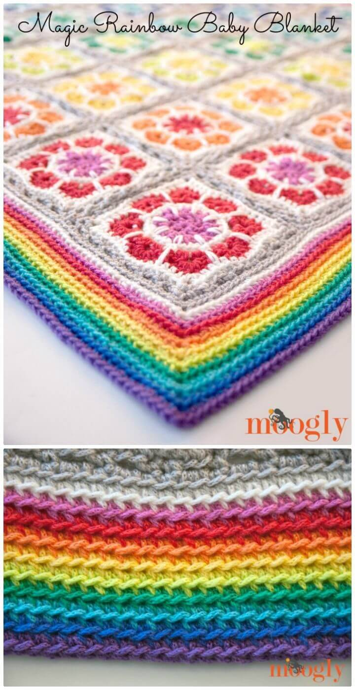 Crochet Magic Rainbow Baby Blanket- Free Pattern