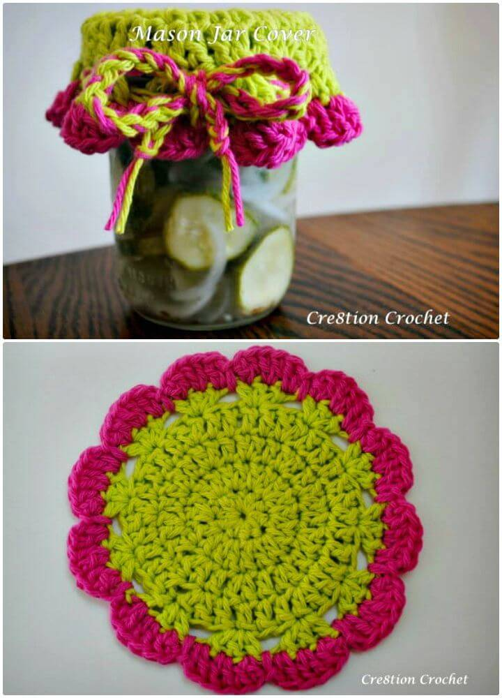 How to Crochet Mason Jar Cover - Free Pattern