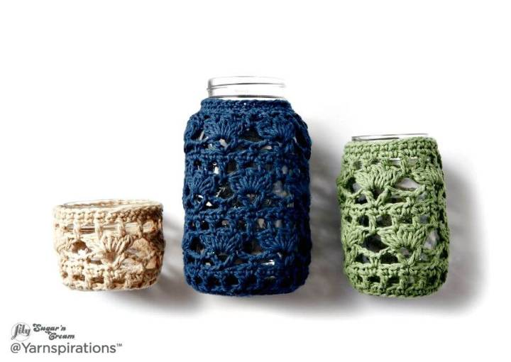 How To Crochet Mason Jar Cozies Free Easy Crochet Home Decor Pattern