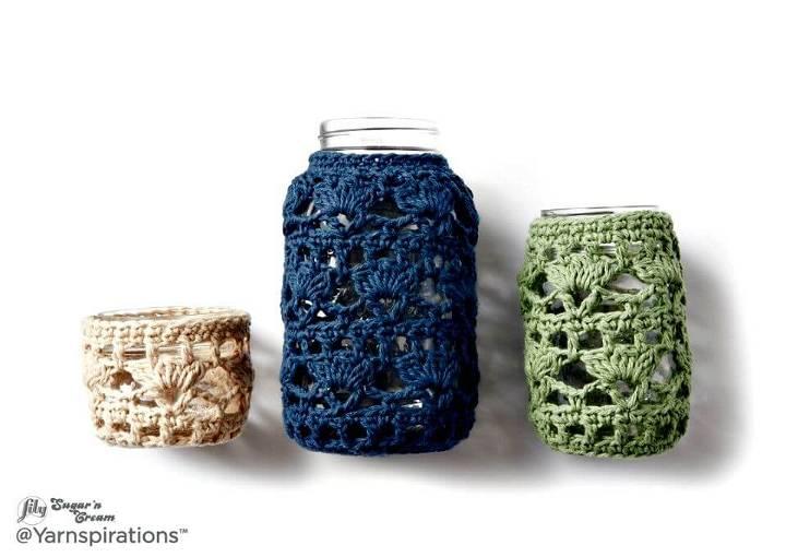 How To Crochet Mason Jar Cozies Free Easy Crochet Home Decor Pattern