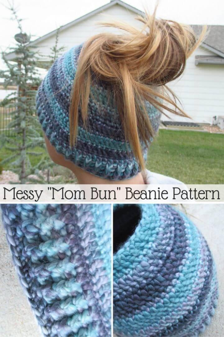 Free Crochet Messy Mom Bun Beanie Pattern