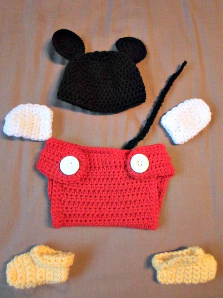 Crochet Mickey Mouse Baby Set Free Pattern