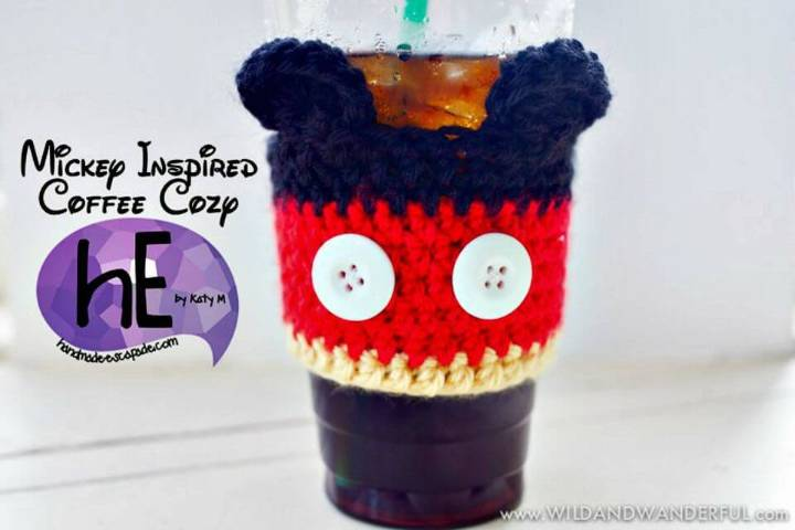 Crochet Mickey Mouse Coffee Cozy - Free Pattern
