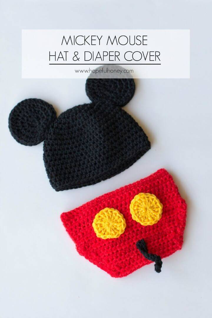Free Crochet Mickey Mouse Inspired Hat & Diaper Cover Pattern