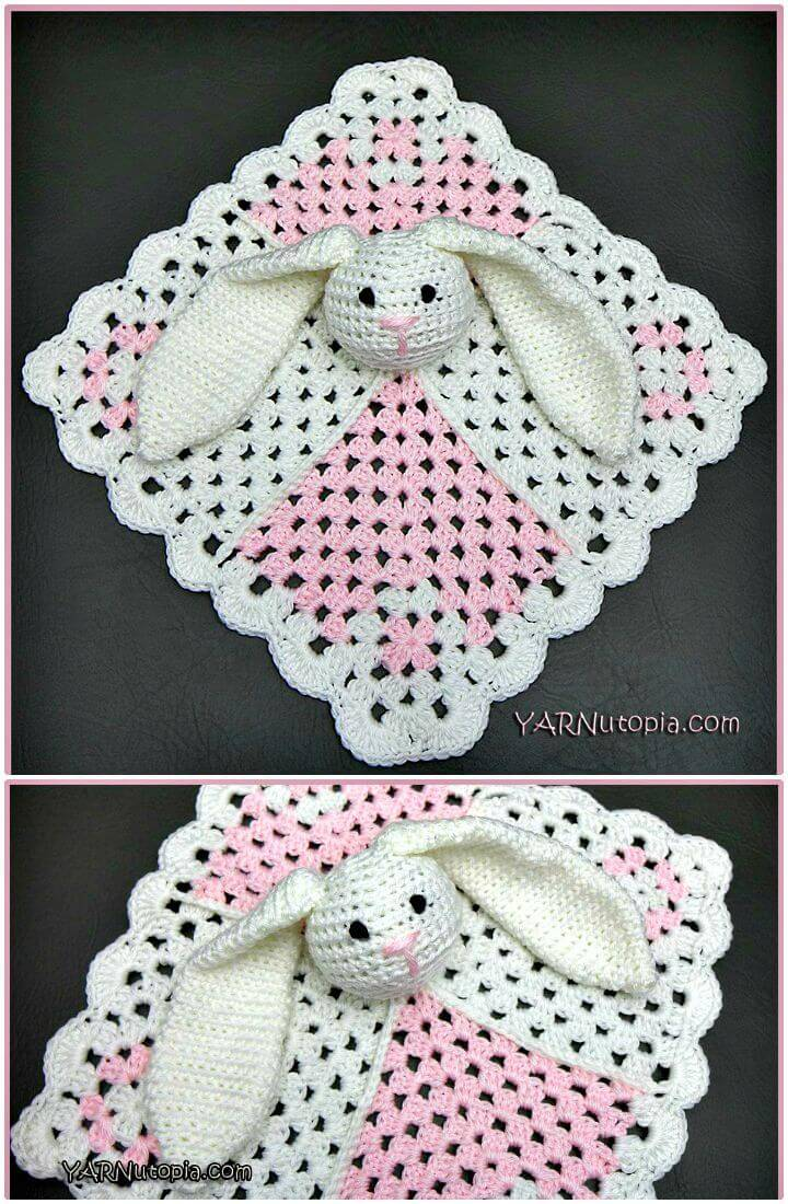How To Crochet Mini Square Bunny Lovey Tutorial