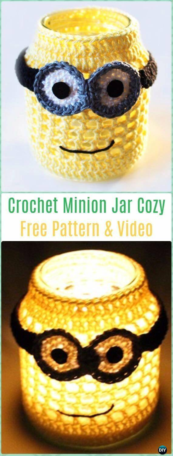 How To Crochet Minion Jar Cozy - Free Pattern
