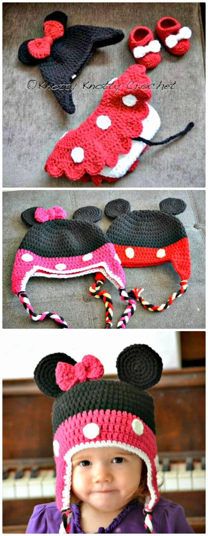 Crochet Minnie Little Mouse Hat, Shoes And Skirt Set Free Pattern