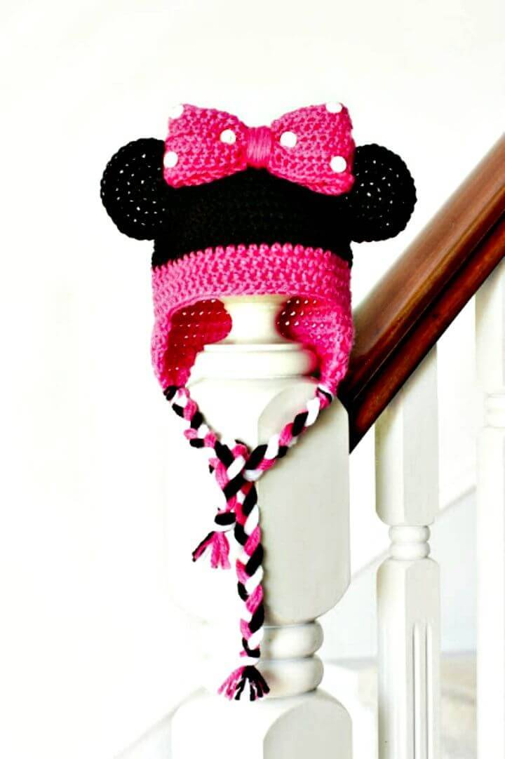 Free Crochet Minnie Mouse Inspired Baby Hat Pattern