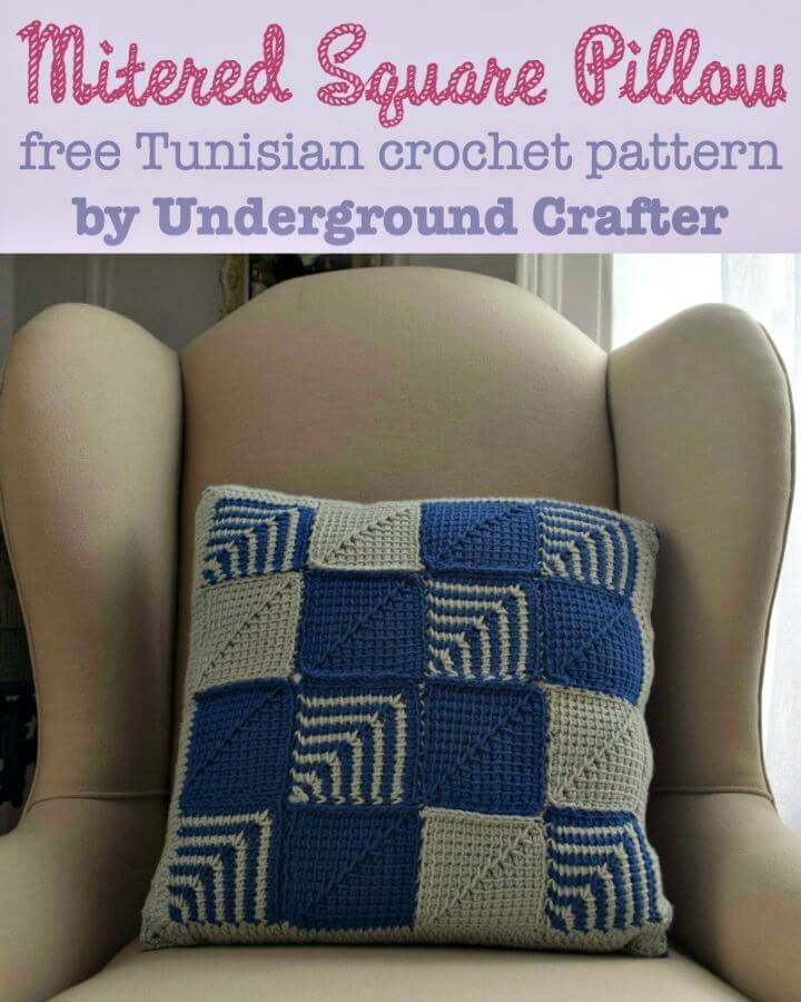 How To Crochet Mitered Square Pillow - Free Pattern