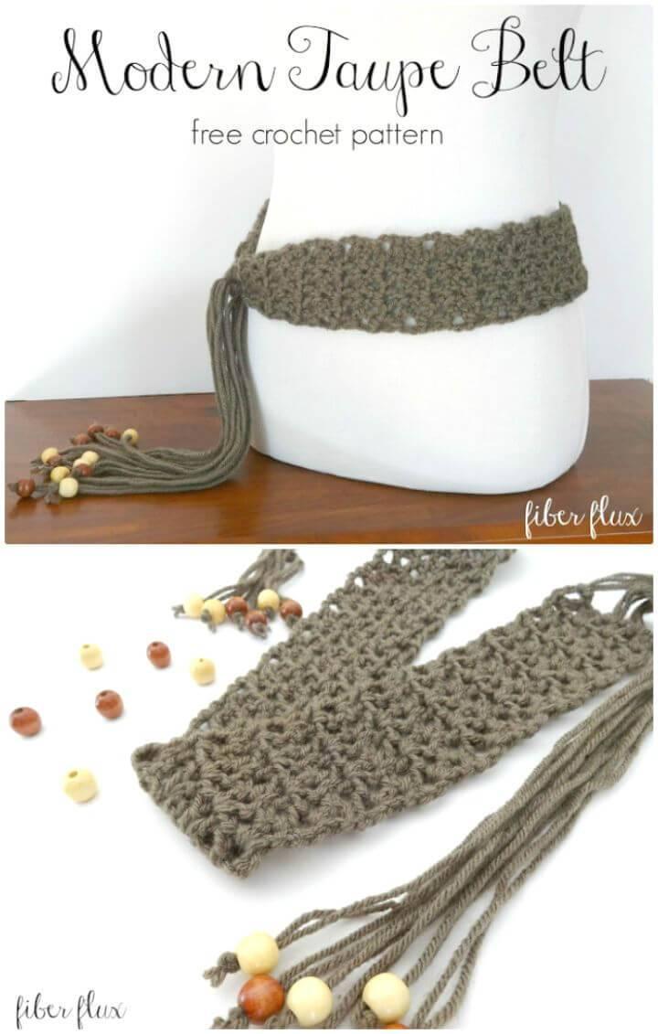 Crochet Modern Taupe Belt - Free Pattern