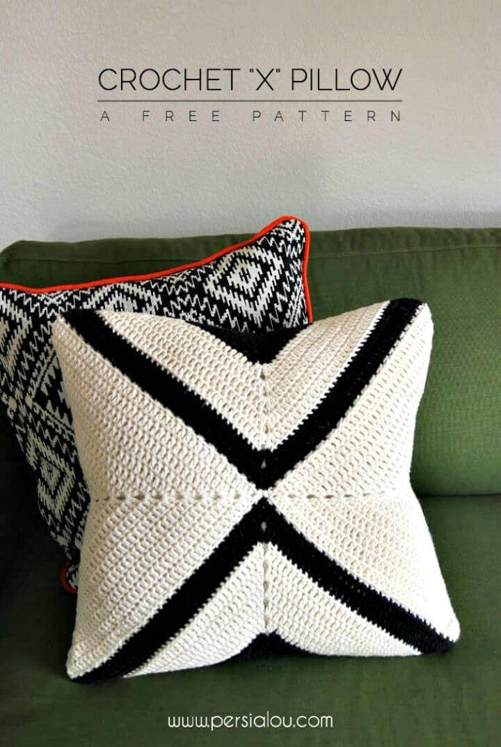 Free Crochet Modern X Pillow Pattern