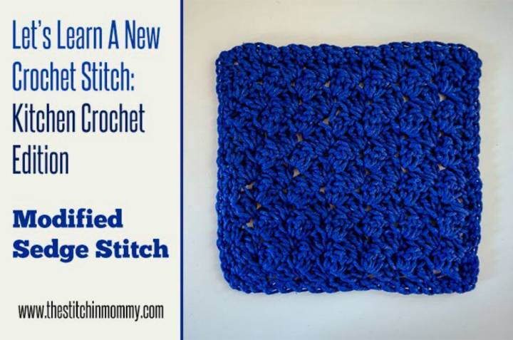 How to Crochet Modified Sedge Stitch Dishcloth - Free Pattern
