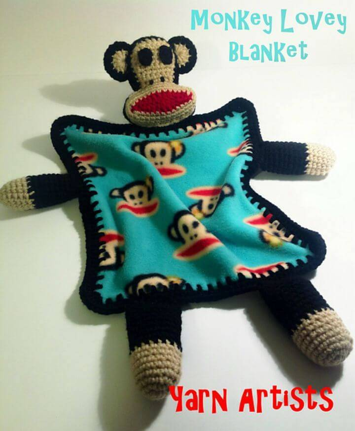 How To Crochet Monkey Lovey Blanket (Paul Frank Julius Inspired) - Free Pattern