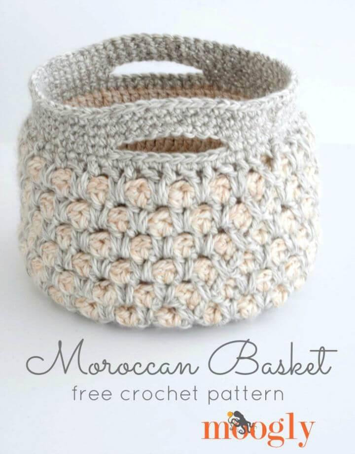 Free Crochet Moroccan Basket Pattern