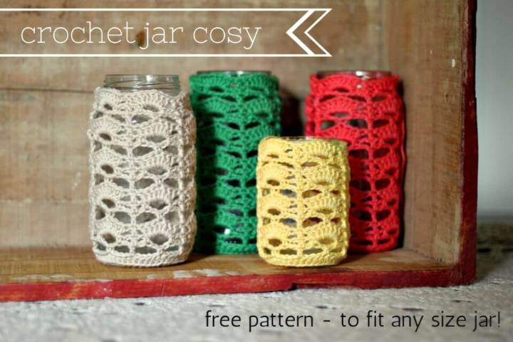 How To Crochet Multi-Color Jar Cosy – Free Pattern