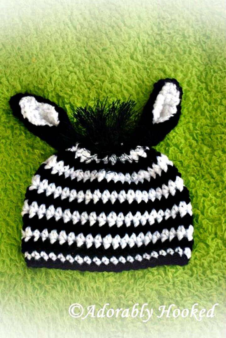 How To Crochet Newborn Zebra Hat - Free Pattern