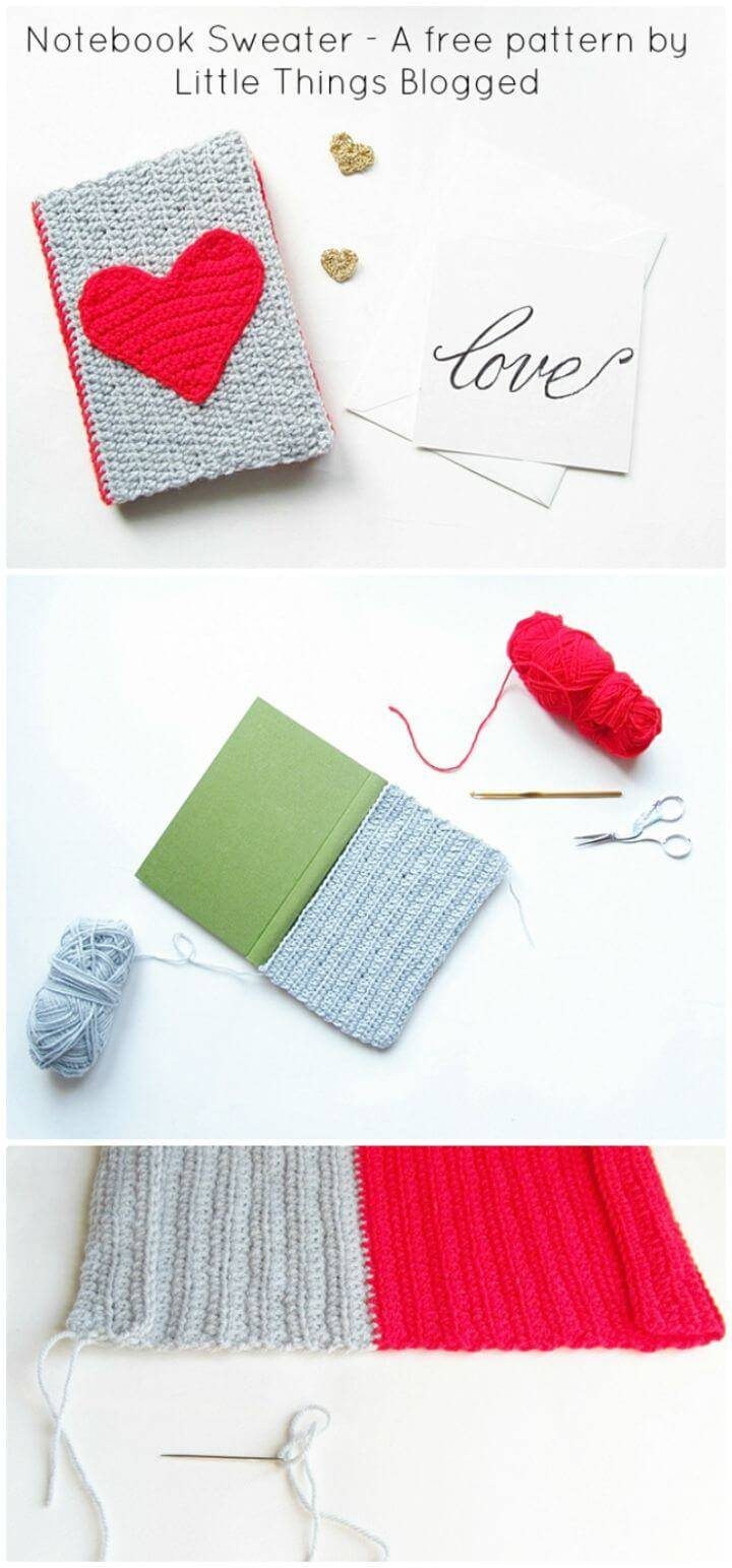 Free Crochet Notebook Sweater For Valentines
