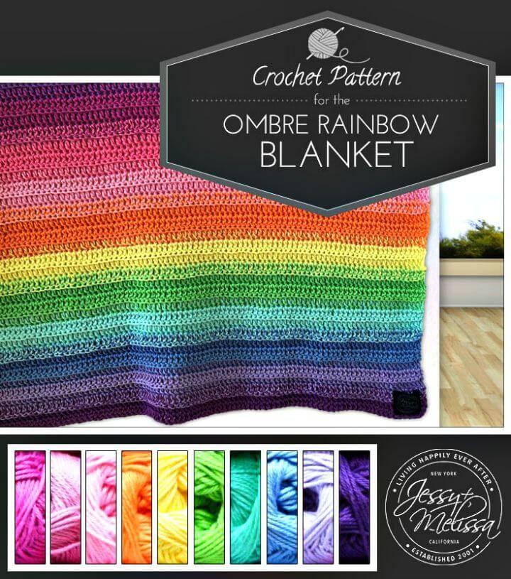 Free Crochet Ombre Rainbow Blanket Pattern