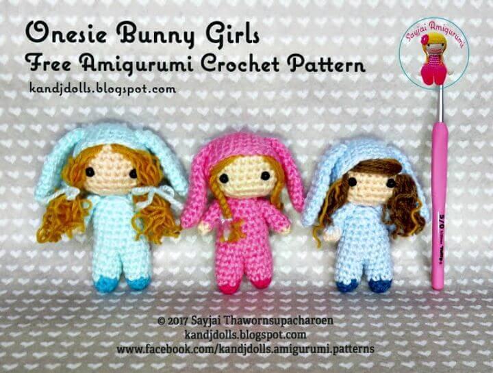 Crochet Onesie Bunny Girls - Free Amigurumi Pattern
