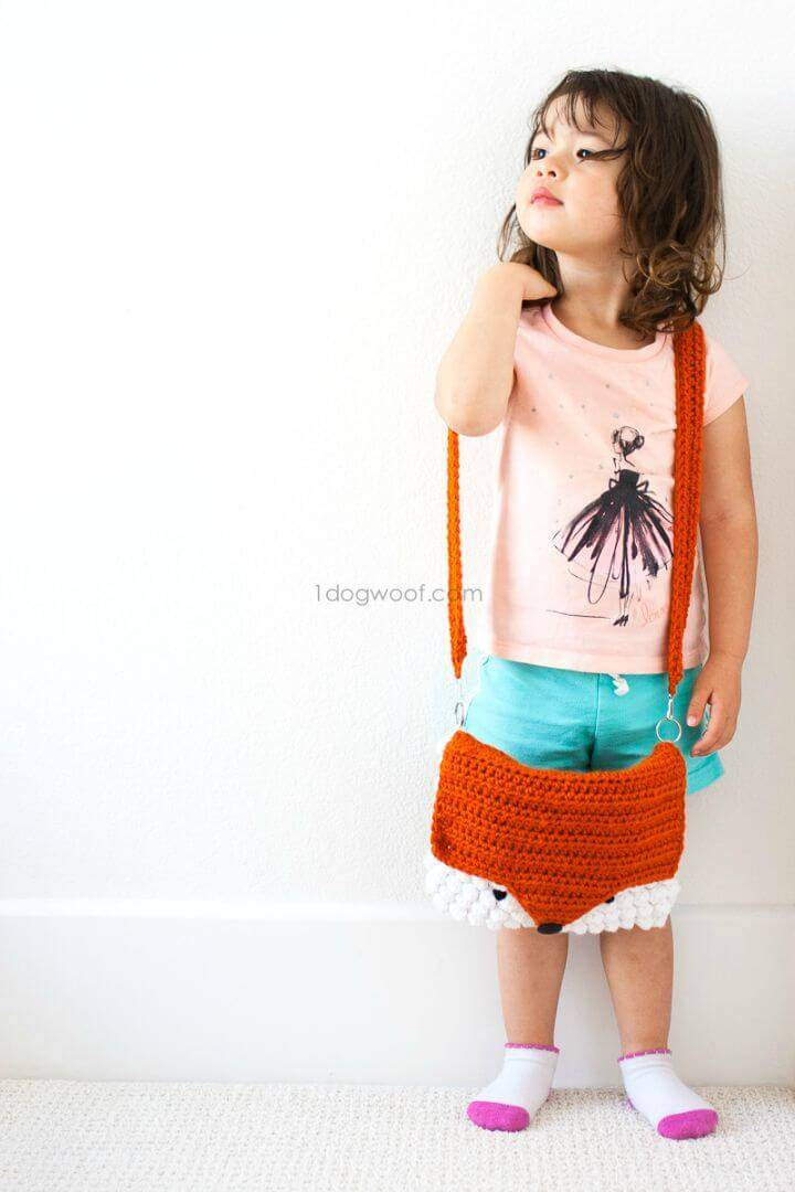Crochet An Orange Color Cute Fox Purse