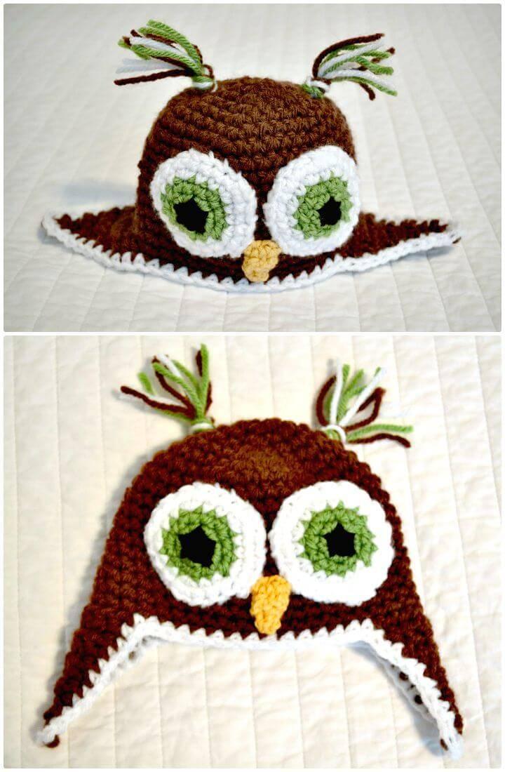 Crochet Owl Beanie Pattern