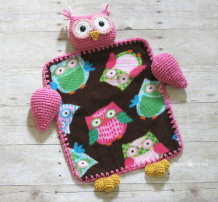 Free Crochet Owl Lovey Blanket Pattern