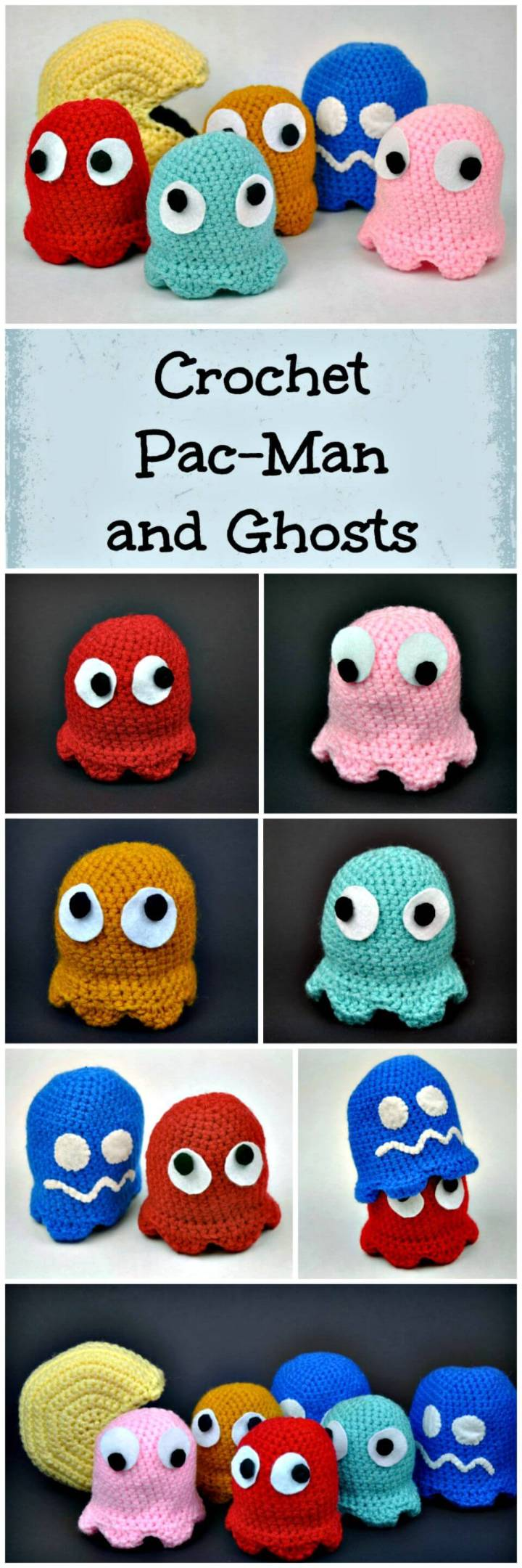 Crochet Pac-Man and Ghosts Amigurumi Pattern