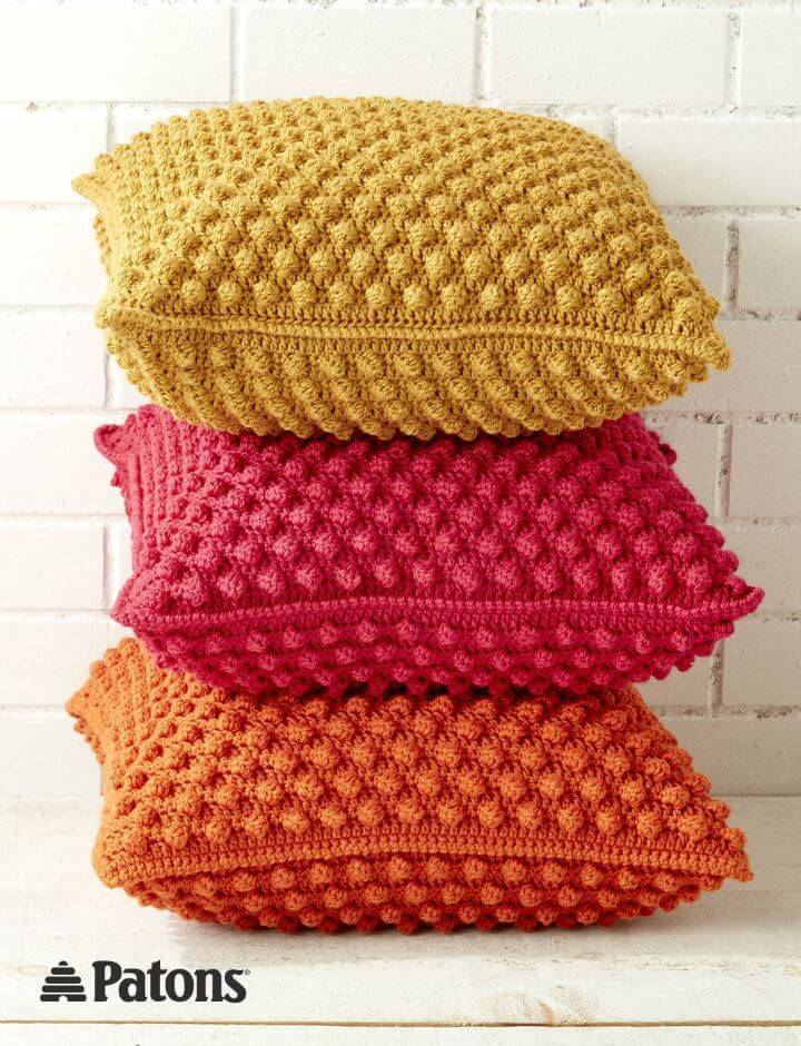 Free Crochet Patons Bobble-licious Pillows Pattern