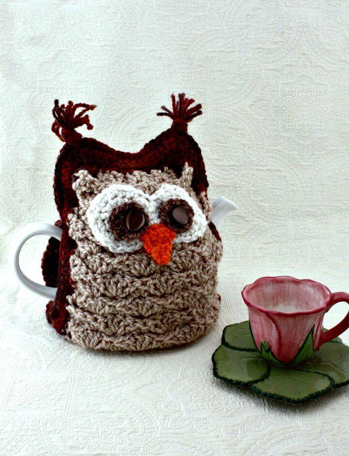 Crochet Patons Whoo Wants Tea Tea Cozy - Free Pattern