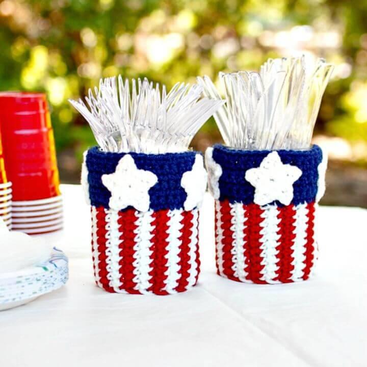 How To Crochet Patriotic Mason Jar Utensil Holder Free Pattern