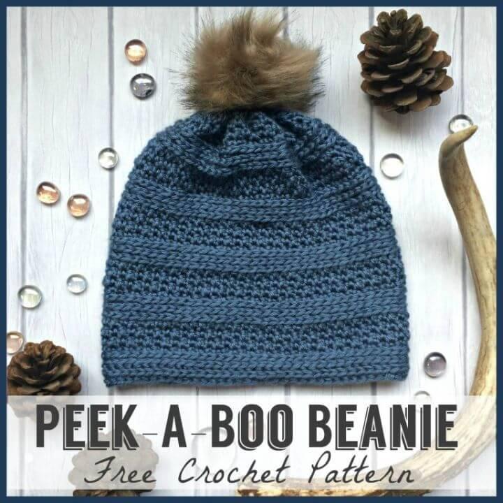 Free Crochet Peek-A-Boo Beanie Hat Pattern