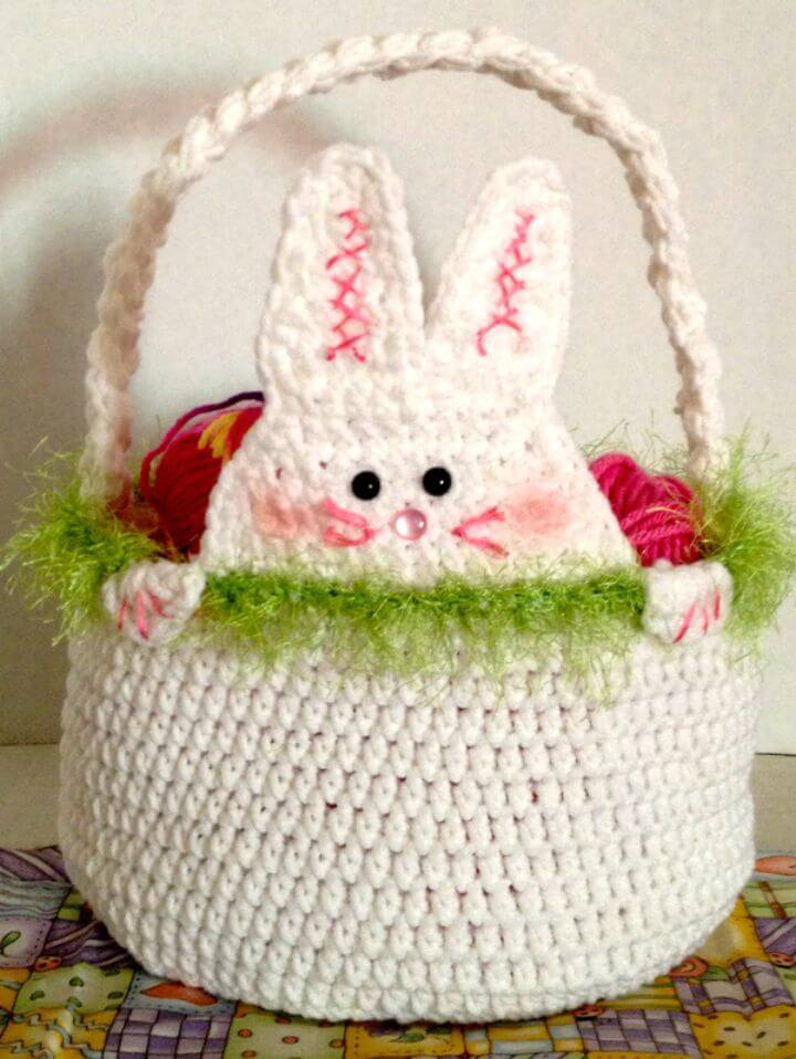 Crochet Peek A Boo Rabbit Easter Basket - Free Pattern