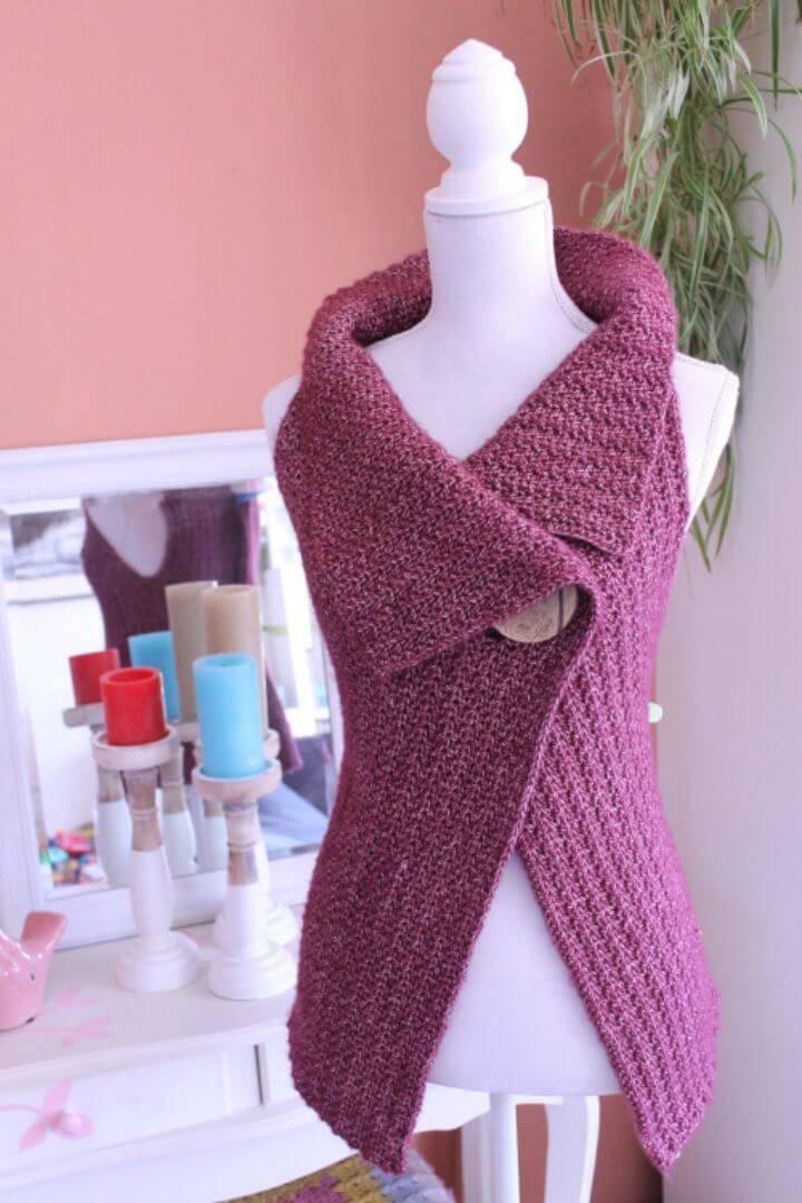 Crochet Peek-a-Boo Button Wrap Pattern Size S-XL