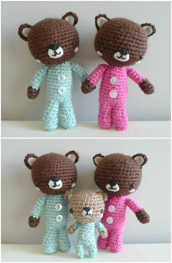 How To Crochet Precious Teddy Bear's Family Free Pattern