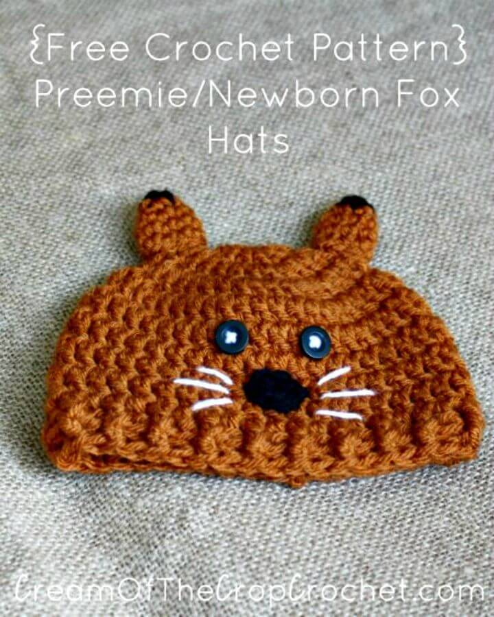 Crochet Preemie Newborn Fox Hat Pattern