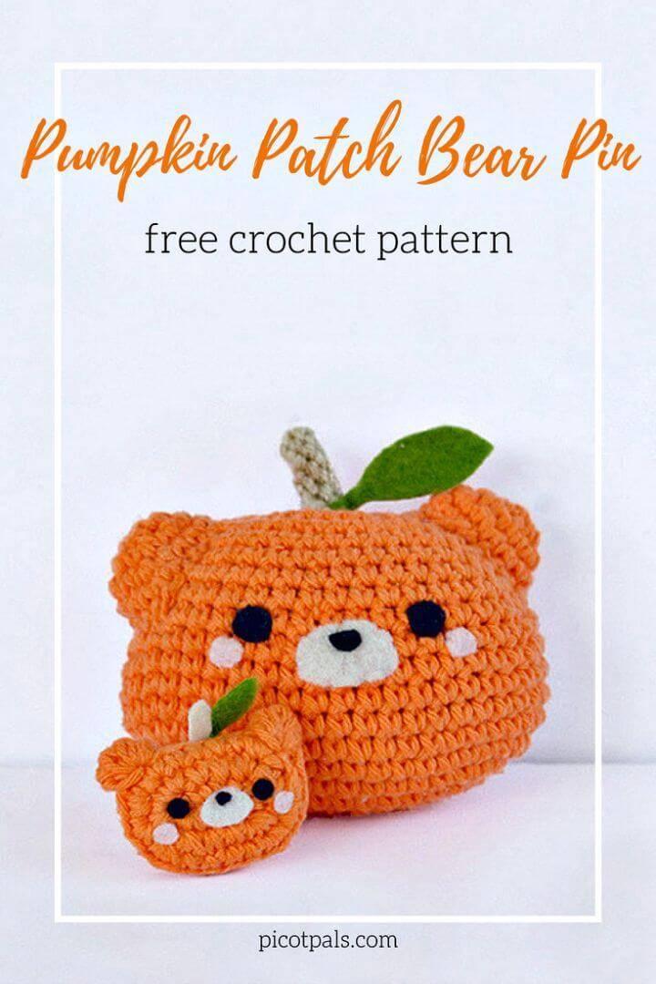 Crochet Pumpkin Patch Bear Pin - Free Pattern