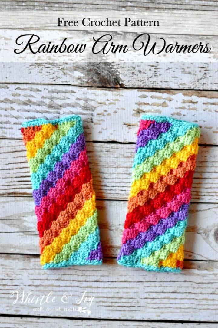 Free Crochet Rainbow C2C Arm Warmers
