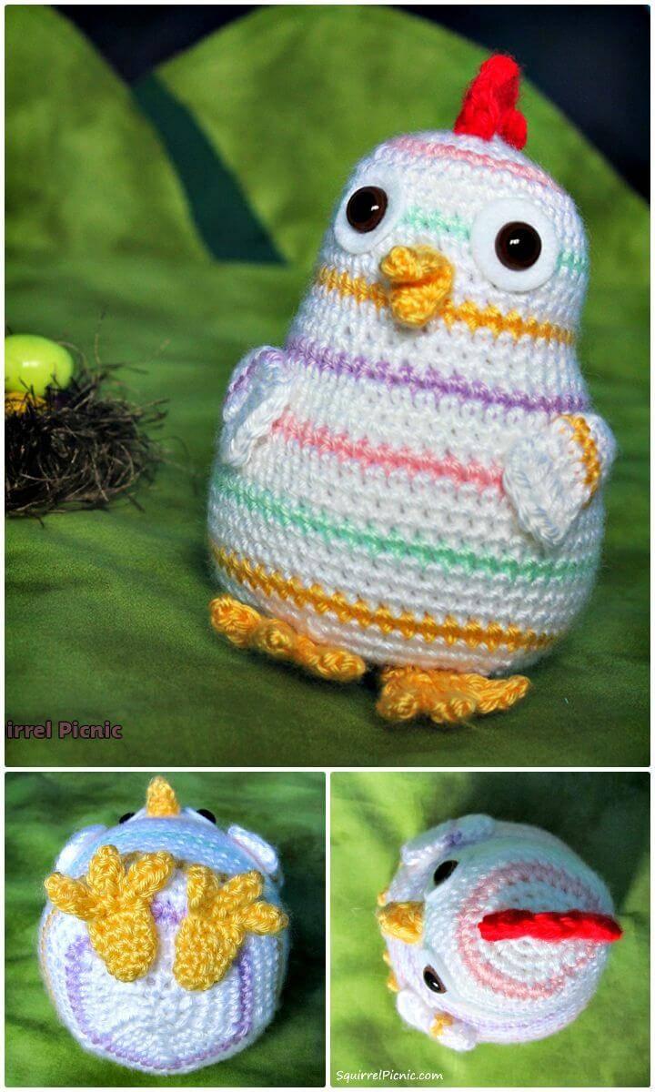 Free Crochet Rainbow Chicken Pattern