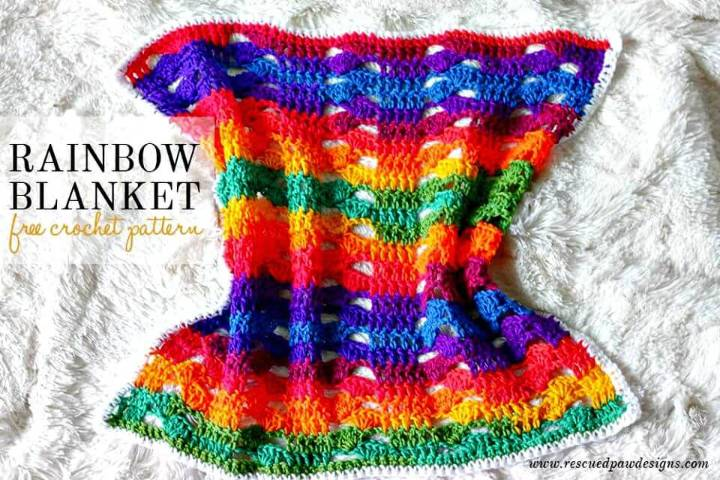 Easy Crochet Rainbow Cluster Blanket - Free Pattern