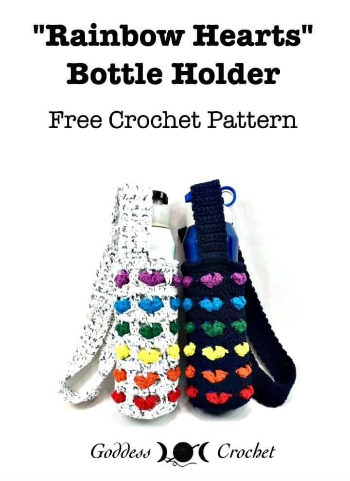 How To Crochet Rainbow Hearts Bottle Holder – Free Pattern