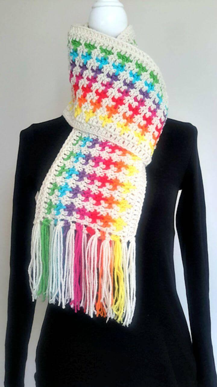 Free Crochet Rainbow Scarf Pattern