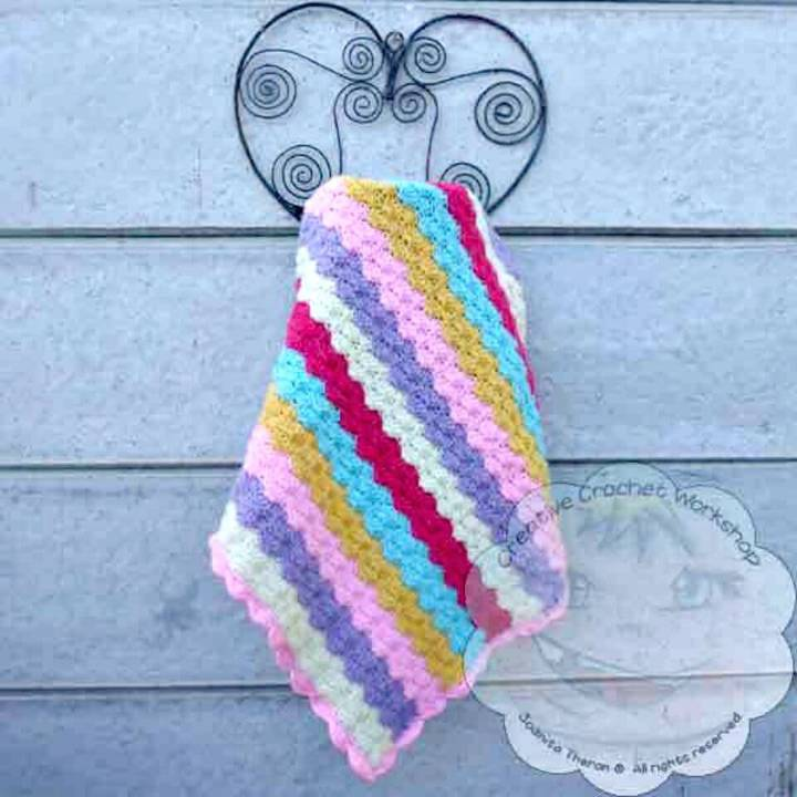 How To Free Crochet Rainbow Shells Baby Blanket Pattern