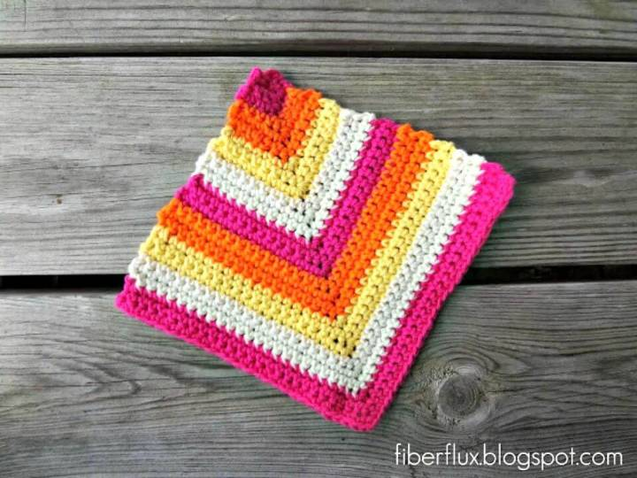 Free Crochet Rainbow Sherbet Dishcloth Pattern